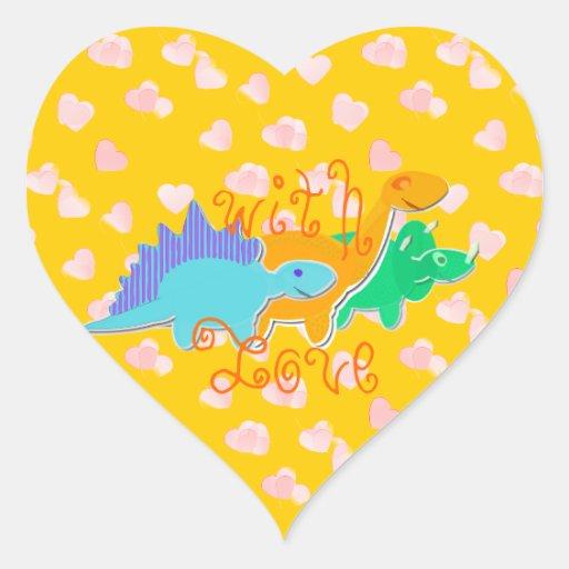 Lindo con los dinosaurios del amor pegatina corazón
