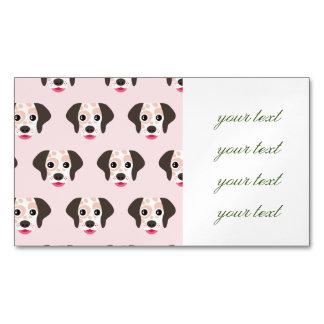 Lindo, diversión, cabezas de perro, rosa, blanco, tarjetas de visita magnéticas (paquete de 25)