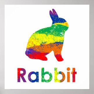 Lindo, diversión, conejo de conejito abstracto col póster