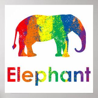 Lindo, diversión y elefante abstracto colorido del póster