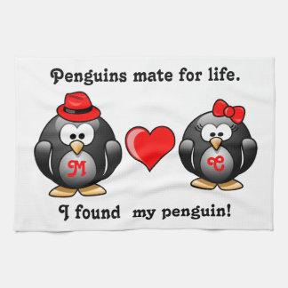Lindo encontré a mi compañero del pingüino para el toallas