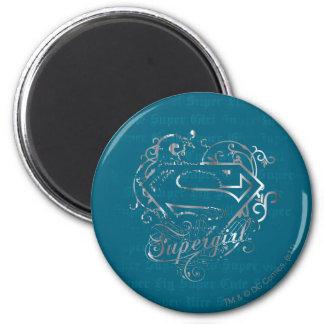 Lindo estupendo de la mosca estupenda de Supergirl Imán Redondo 5 Cm