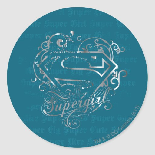 Lindo estupendo de la mosca estupenda de Supergirl Etiquetas Redondas