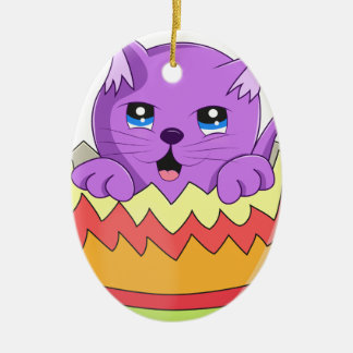 Lindo Gatito color Violeta Ceramic Ornament