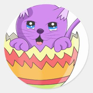 Lindo Gatito color Violeta Classic Round Sticker