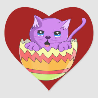 Lindo Gatito color Violeta Heart Sticker