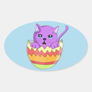 Lindo Gatito color Violeta Oval Sticker