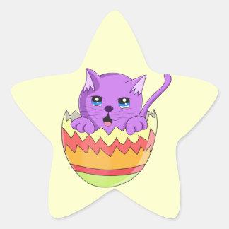 Lindo Gatito color Violeta Star Sticker