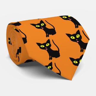 Lindo, gato negro de Halloween Corbatas
