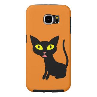 Lindo, gato negro de Halloween Fundas Samsung Galaxy S6