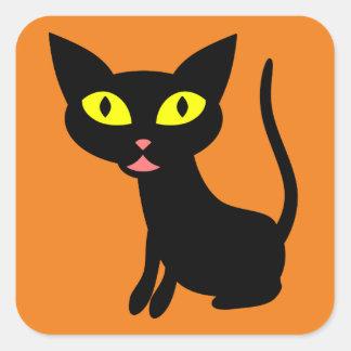 Lindo, gato negro de Halloween Pegatina Cuadrada