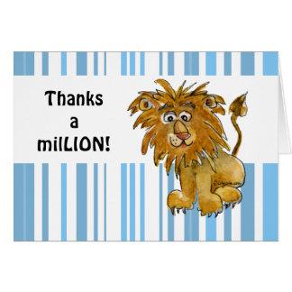 Lindo gracias cardar el león tarjeta pequeña