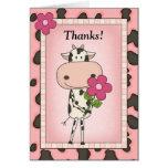 Lindo gracias - vaca y flor tarjeta