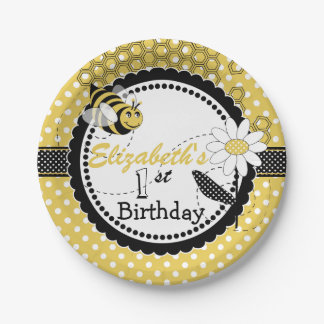 Lindo manosee a la 1ra fiesta de cumpleaños de la plato de papel de 7 pulgadas