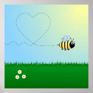 Lindo manosee el dibujo animado de la abeja póster