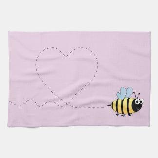 Lindo manosee el dibujo animado de la abeja toalla de cocina
