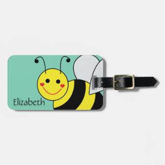 Lindo manosee el nombre y dirección de la abeja etiqueta de equipaje
