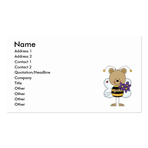 lindo manosee el oso de la abeja con las flores pú plantillas de tarjetas personales