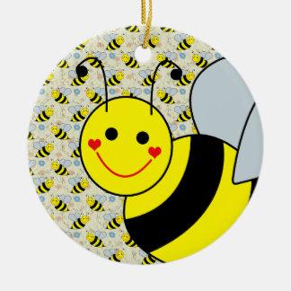 Lindo manosee la abeja adorno navideño redondo de cerámica