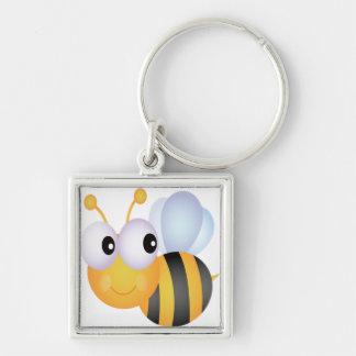 Lindo manosee la abeja llavero cuadrado plateado