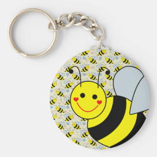Lindo manosee la abeja llavero redondo tipo pin