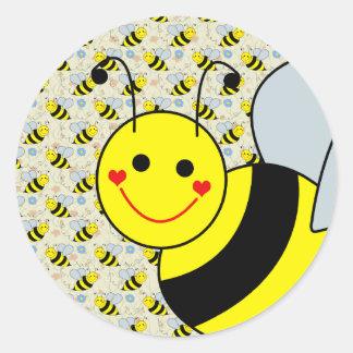 Lindo manosee la abeja pegatinas redondas