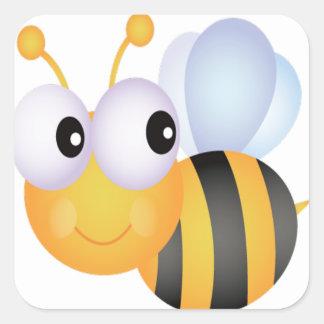 Lindo manosee la abeja pegatina cuadrada