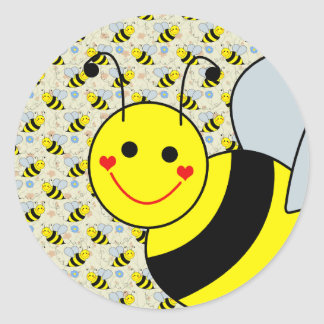 Lindo manosee la abeja pegatina redonda