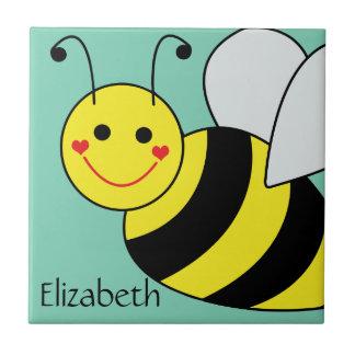 Lindo manosee la abeja personalizada azulejo cuadrado pequeño