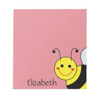 Lindo manosee la abeja personalizada bloc de papel
