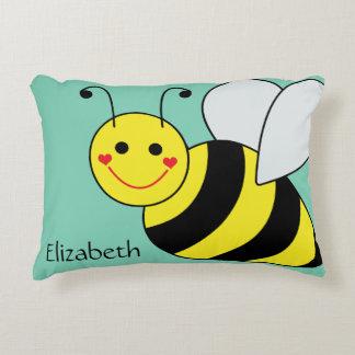 Lindo manosee la abeja personalizada cojín decorativo
