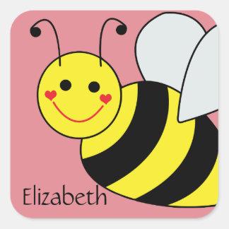 Lindo manosee la abeja personalizada pegatina cuadrada