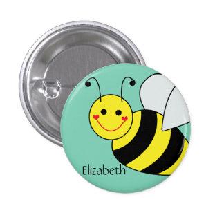 Lindo manosee la abeja personalizada pin redondo de 1 pulgada