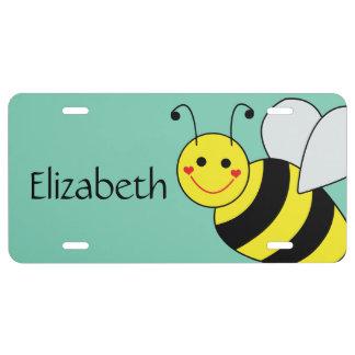 Lindo manosee la abeja personalizada placa de matrícula
