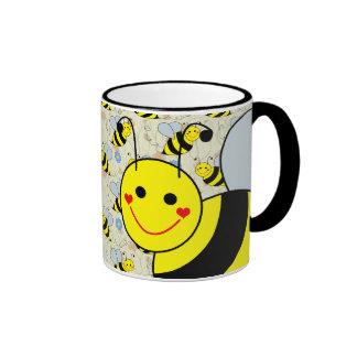 Lindo manosee la abeja taza de dos colores