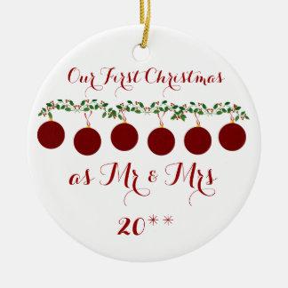 Lindo nuestro primer navidad junto adorna adorno navideño redondo de cerámica