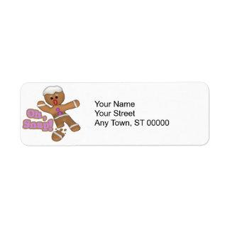 lindo oh, galleta rápida del hombre de pan de etiqueta de remitente