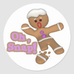 lindo oh, galleta rápida del hombre de pan de pegatina redonda