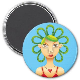 Lindo peinado exótico 3 inch round magnet