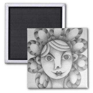 Lindo peinado exótico dibujo lápiz grafito arte 2 inch square magnet