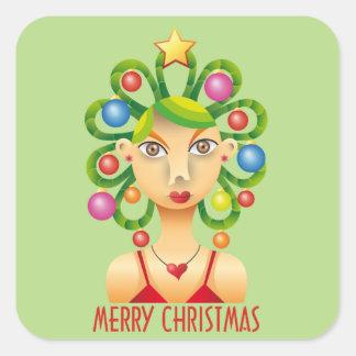 Lindo peinado exótico navidad pegatina cuadrada