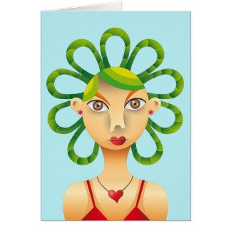 Lindo peinado exótico tarjeta de felicitación