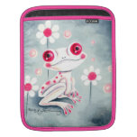 Lindo rosado femenino de la rana funda para iPads
