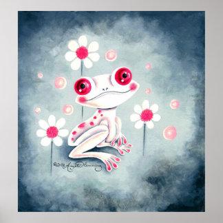 Lindo rosado femenino de la rana posters