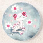 Lindo rosado femenino de la rana posavasos manualidades