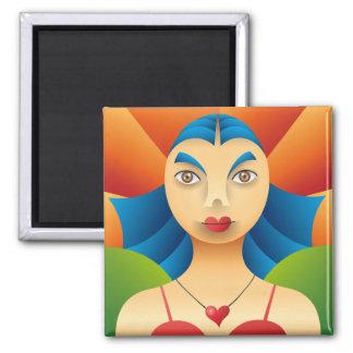 Lindo rostro femenino 2 inch square magnet