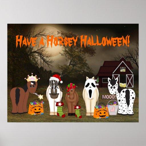 Lindo tenga un poster de caballo de Halloween