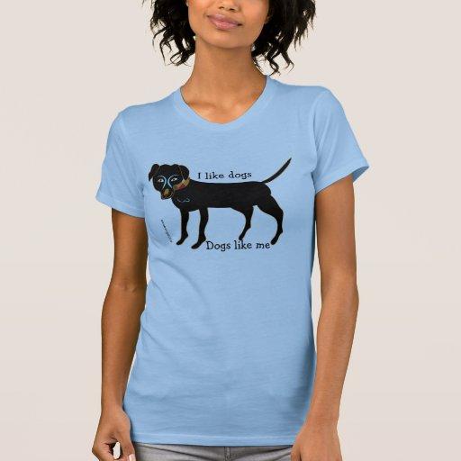 LINDO tengo gusto del perro negro de los perros Playera