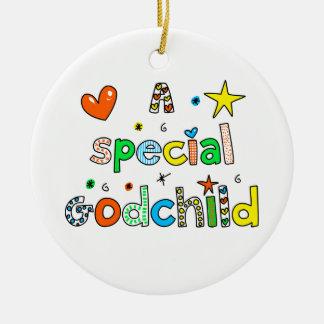 Lindo una expresión especial del texto del ahijado adorno navideño redondo de cerámica