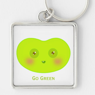 Lindo va el arte verde del Jellybean Llaveros Personalizados